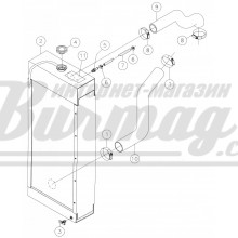 251196001 Верхний патрубок радиатора 33х44 Вермеер(Vermeer)